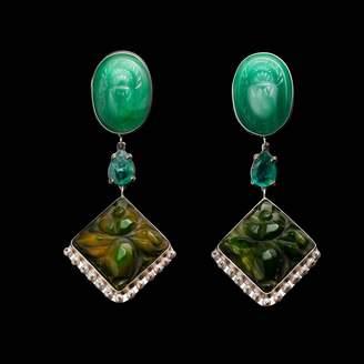 Lulu Frost Fine Vintage Three Part Post Drop Earrings - Scarab Emerald