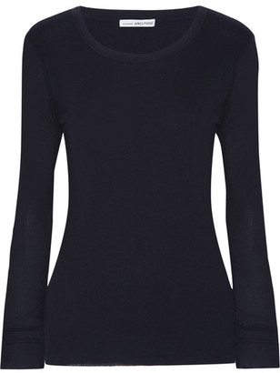 James Perse - Ribbed Cotton And Cashmere-blend Top - Midnight blue $145 thestylecure.com