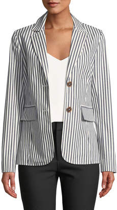 Derek Lam 10 Crosby Striped Single-Breasted Cotton Blazer