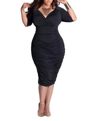 16717ec48c8 BIUBIU Women s Plus Size Sexy 3 4 Sleeve V Neck Ruched Bodycon Midi Dress  2XL