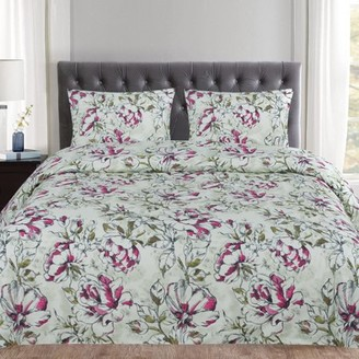 Popular Home Collection Dolce Sage and Purple Floral Pattern 3-Piece Duvet Cover Set