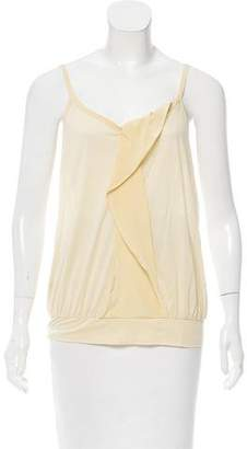 Miu Miu Silk-Accented Sleeveless Top