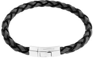 Tateossian Men's Braided Leather Silver Bracelet - M, Silver