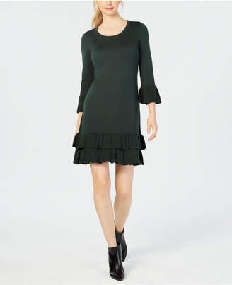 Nine West Ruffled Bell-Sleeve Sweater Dress