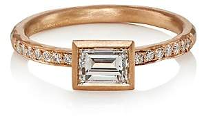 Malcolm Betts Women's White Diamond & Rose Gold Ring-Gold