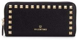 Mario Valentino Grace Studded Zip-Around Leather Wallet