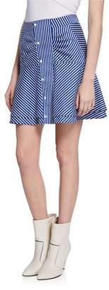 Derek Lam 10 Crosby Striped Flared Short Skirt with Ruching