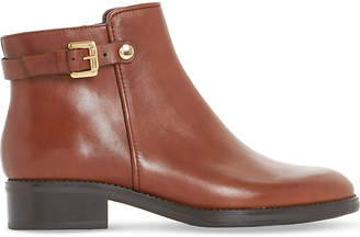 Dune Black Ladies Brown Sophisticated Polley Buckle Leather Ankle Boots