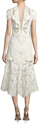 Jonathan Simkhai Mock-Neck Lace Guipure Cap-Sleeve Midi Dress