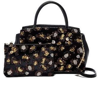 Betsey Johnson Evening Prowl Leopard Sequin Satchel
