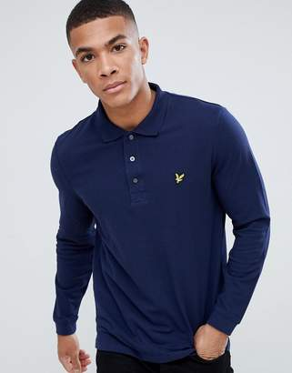 Lyle & Scott long sleeve polo shirt in navy