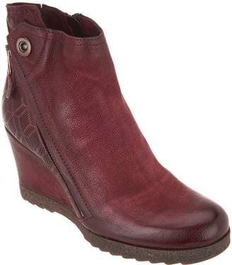 Miz Mooz Leather Zip Wedge Ankle Boots - Newton