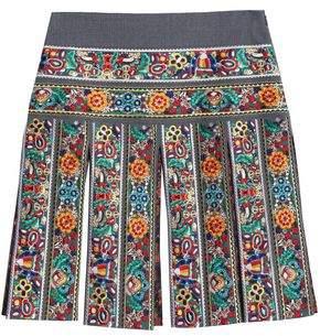 Stella Jean Fringed Embroidered Virgin Wool-Blend Mini Skirt