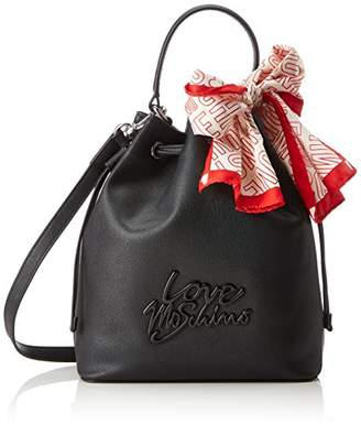 Love Moschino Borsa Saffiano Pu Nero-logo Nero, Women's Bag,23x26x24 cm (B x H T)