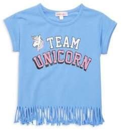 Design History Little Girl's Team Unicorn Fringe Tee