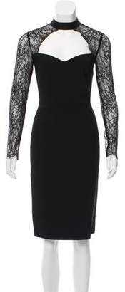 Alice + Olivia Lace-Accented Long Sleeve Dress