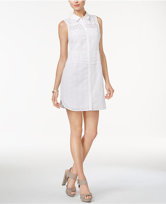 GUESS Ryleigh Cotton Mini Shirtdress $89 thestylecure.com