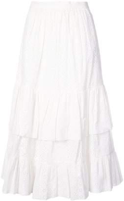 ALEXACHUNG Alexa Chung embroidered flared midi skirt