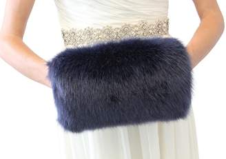 Tion Design Bridal Faux Fur Hand Muff Navy Blue L Adult