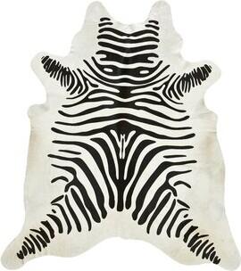 Saddlemans Zebra Cowhide Black/Off White Area Rug