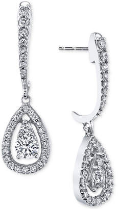 Macy's Diamond Orbital Teardrop Drop Earrings (1 ct. t.w.) in 14k White Gold