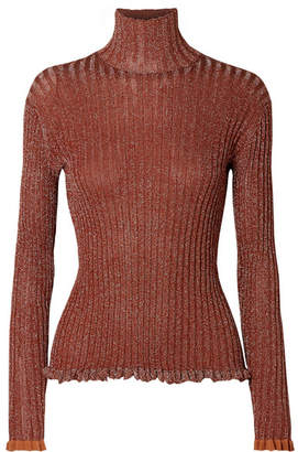 Chloé Ribbed Silk-blend Lurex Turtleneck Sweater - Brown