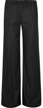 Hellessy Daley Pinstriped Wool-blend Wide-leg Pants - Black