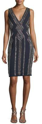 Aidan Mattox Sleeveless V-Neck Geometric-Beaded Cocktail Sheath Dress