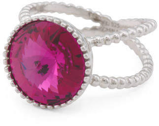 Sterling Silver Swarovski Crystal Split Shank Circle Ring
