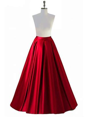 SkirtsFirst Women's Prom Party Dress A-Line High Waisted Long Floor Length Pleated Maxi Skirts