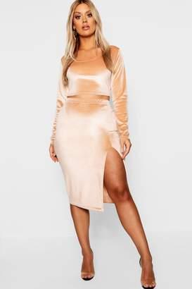 boohoo Plus Velvet Midi Skirt