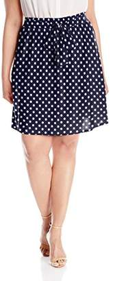 Star Vixen Women's Plus-Size Knee-Length Full Skater Skirt with Self-Tie Bow Belt, FUSH