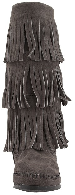 Minnetonka - Calf Hi 3-Layer Fringe Boot Women's Pull-on Boots 11