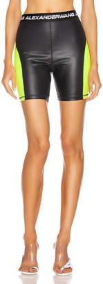 Alexander Wang Logo Elastic Biker Short in Zest & Black   FWRD