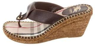 Burberry Thong Wedge Sandals Brown Thong Wedge Sandals