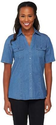 Denim & Co. Stretch Denim Short Sleeve Camp Shirt w/ Roll Tab