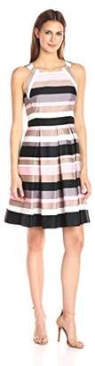 Nine West Women's Sailor Stripe Fit and Flare Dress with Pleats