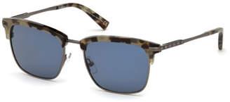 Ermenegildo Zegna Half-Rim Acetate/Metal Sunglasses