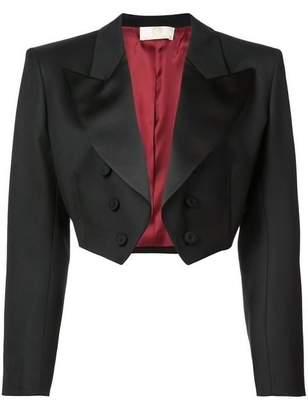 Sara Battaglia Cropped Tuxedo Jacket