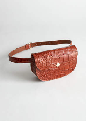 And other stories Structured Leather Croc Beltbag