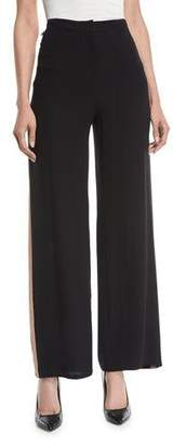 Eileen Fisher Side-Striped Silk Crepe Pants, Petite