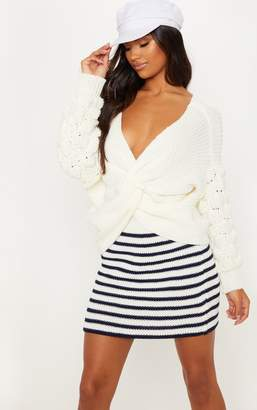 PrettyLittleThing Cream Knitted Twist Detail Bubble Sleeve Jumper