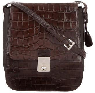 pradaPrada Crocodile & Tessuto Shoulder Bag