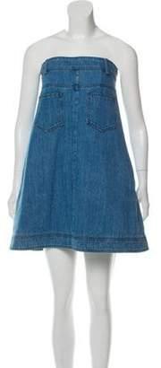Chanel Strapless Denim Mini Dress Blue Strapless Denim Mini Dress