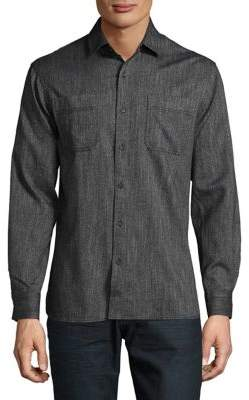 Black & Brown Black Brown Textured Button-Down Shirt