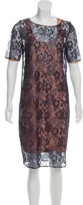 By Malene Birger Lace Shift Dress Navy Lace Shift Dress