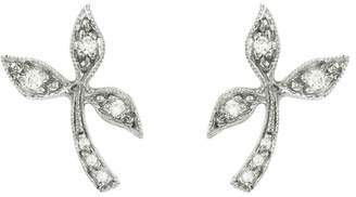 Cathy Waterman Diamond Three Leaf Stud Earrings - Platinum