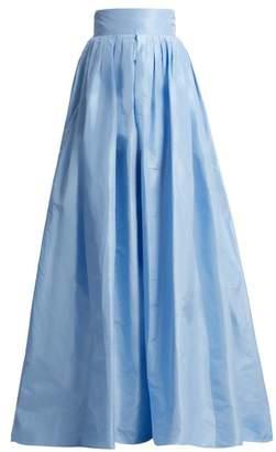 Carolina Herrera High Rise Silk Taffeta Ball Gown Skirt - Womens - Light Blue