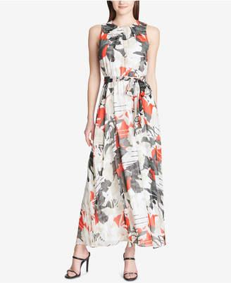 Calvin Klein Printed Tie-Belt Maxi Dress