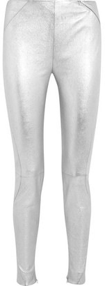 Mugler - Metallic Stretch-leather Leggings - Silver $2,205 thestylecure.com